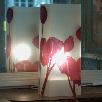 Lampe PavotsBourgogne. <BR><I>Lamp Pavots Burgundy.</I>